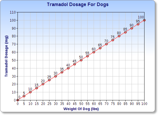 Chart of the tramadol dosage for dogs